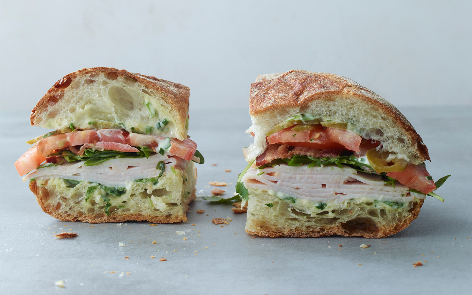 Turkey and Bacon Sandwich with Arugula Mayonnaise   Jean-Georges ...